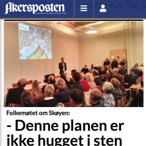 """Ullern Venstre folkemøtet i Skøyen Kirke Akerspoten """"Planen er ikke hugget i sten"""""""