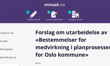 """Pressemelding: Ønsker """"bestemmelser for planprosesser i Oslo"""" opp i Bystyret"""