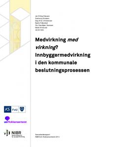 Medvirkning med virkning rapport NIBR KS FoU Uni Rokkansenteret